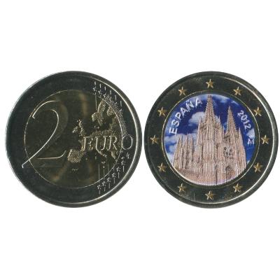 Монета 2 Евро Испании 2012 Г. Кафедральный Собор в городе Бургос (цветная)