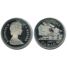 1 доллар Канады 1981 г., 100 лет Трансконтинентальной железной дороге