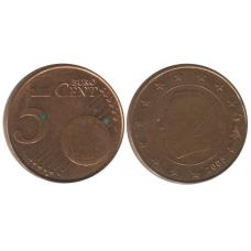 5 евроцентов Бельгии 2005 г.