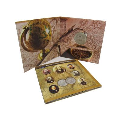 Монета 5 рублей 2015 г., 170-летие Русского географического общества (в буклете)