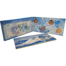 Набор из 4-х монет и банкноты, Сочи - 2014 (бронзовое покрытие в буклете)