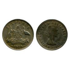 6 пенсов Австралии 1958 г.