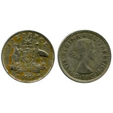 6 пенсов Австралии 1954 г.