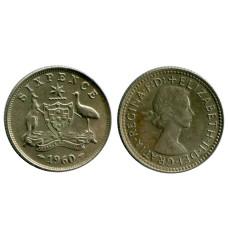 6 пенсов Австралии 1960 г.