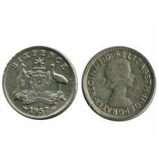 6 пенсов Австралии 1957 г.