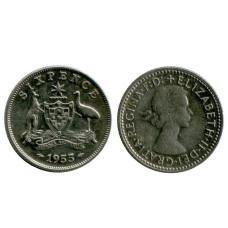 6 пенсов Австралии 1955 г.