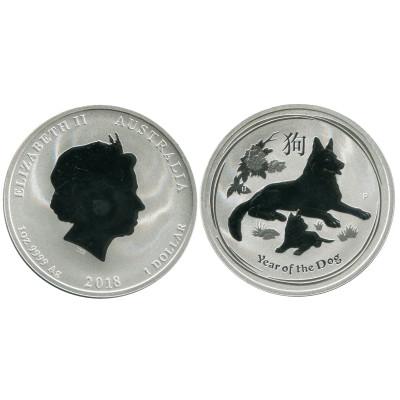 Серебряная монета 1 доллар Австралии 2018 г., Год собаки