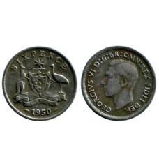 6 пенсов Австралии 1950 г.