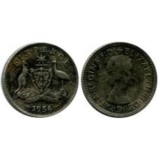 6 пенсов Австралии 1956 г.