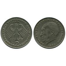 2 марки Германии 1974 г. (F) (Конрад Аденауэр)