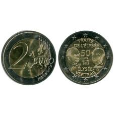 2 евро Германии 2013 г., 50 лет подписания Елисейского договора (А)