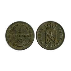 1 крейцер Нассау 1832 г.