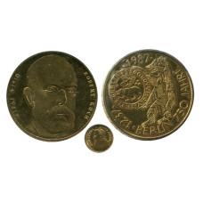 """Набор из 2-х юбилейных монет Германии и золотого жетона """"Крюгерранд 1978 г. ЮАР"""""""