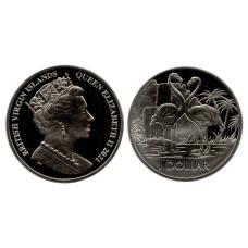 1 доллар Британские Виргинские острова  2021 г. Фламинго