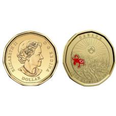 1 доллар Канады 2021 г. 125 лет Золотой лихорадке в Клондайке цветная