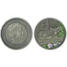 1 доллар Острова Ниуэ 2014 г. Год быка (лотосы)