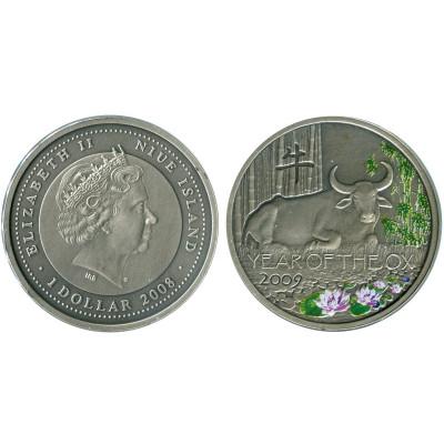 Монета 1 доллар Острова Ниуэ 2014 г. Год быка (лотосы)