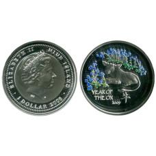 1 доллар Острова Ниуэ 2014 г. Год быка (синие цветы)