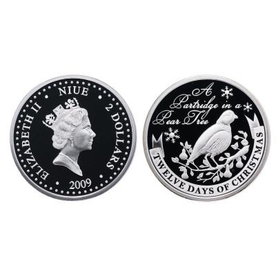 Монета 2 доллара Острова Ниуэ 2009 г. 12 дней рождества. Куропатка на грушевом дереве