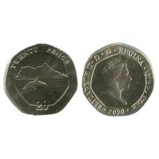 20 пенсов Гибралтара 2020 г. Дельфин