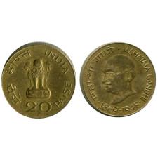 20 пайсов Индии 1969 г. 100 лет со дня рождения Махатмы Ганди
