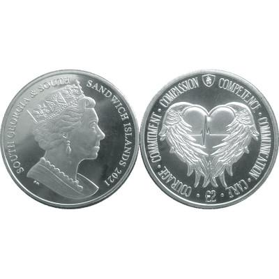 2 фунта Южная Георгия и Южные Сандвичевы острова 2021 г. Почесть медицинским профессиям