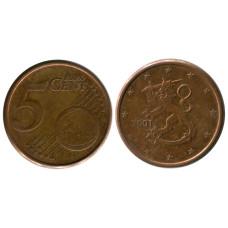 5 Евроцентов Финляндии 2001 Г.