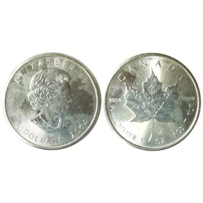 Серебряная монета 5 долларов Канады 2014 г., Кленовый лист