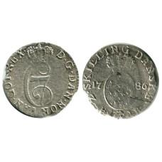 2 скиллинга Норвегии 1786 г.