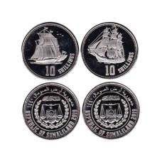 Набор их 2-х монет Сомалиленда 2019 г. Парусники