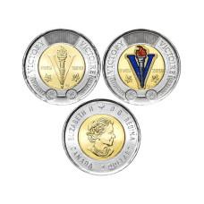 Набор монет 2 доллара Канады 2020 г. 75 лет окончания Второй Мировой войны