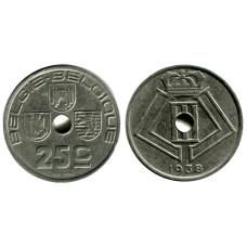 25 сантимов Бельгии 1938 г. BELGIE