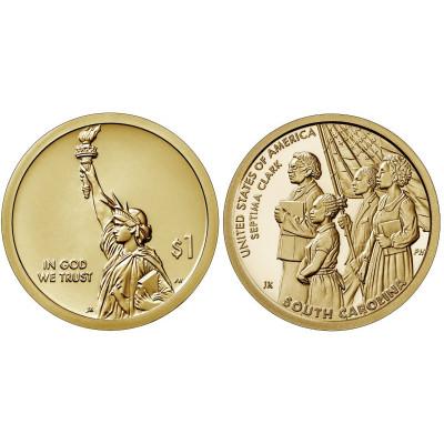 Mонета 1 доллар США 2020 г. Септима Кларк D