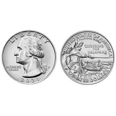 Монета Квотер США 2021 г. Джордж Вашингтон. Переправа через реку Делавэр P