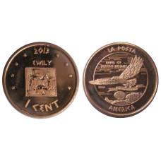 1 цент США 2013 г. Индейская резервация La Posta (сувенирная монета)