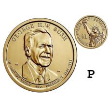 1 доллар 2020 г. 41-ый президент Джордж Буш-старший (P)