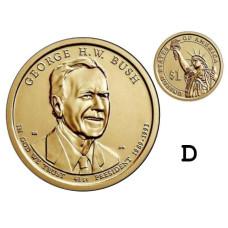 1 доллар 2020 г. 41-ый президент Джордж Буш-старший (D)