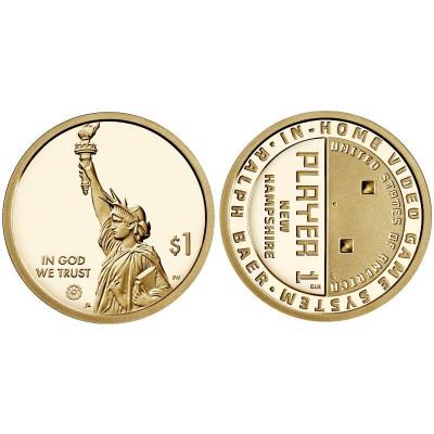 Монета 1 доллар США 2021 г. Нью-Гэмпшир Ральф Баер, Домашняя игровая приставка (P)