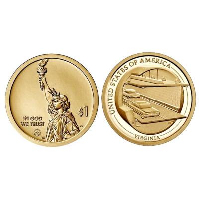 Монета 1 доллар США 2021 г. Мост-тоннель через Чесапикский залив (D)