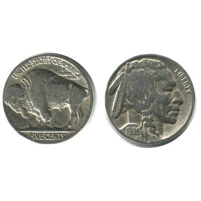 Монета 5 центов США 1935 г. Индеец (Buffalo Nickel) (P)