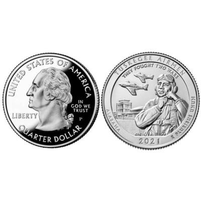 Монета Квотер США 2021 г. Пилоты Таскиги (56-й парк) P