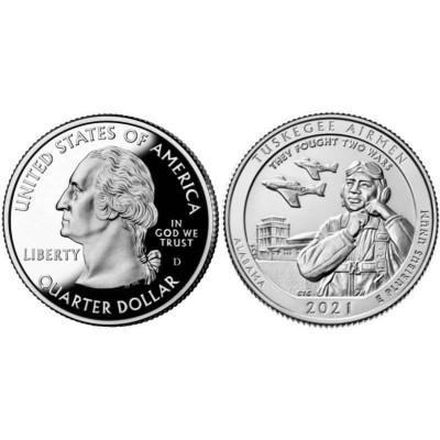 Монета Квотер США 2021 г. Пилоты Таскиги (56-й парк) D