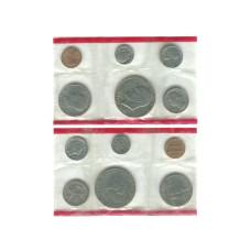 Годовой набор монет США 1976 г. (2 двора) 200 лет независимости США в конверте