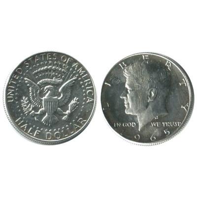 Серебряная монета Полдоллара США 1965 г. Кеннеди