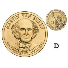 1 доллар США 2008 г., 8-й президент Мартин Ван Бюрен (D)