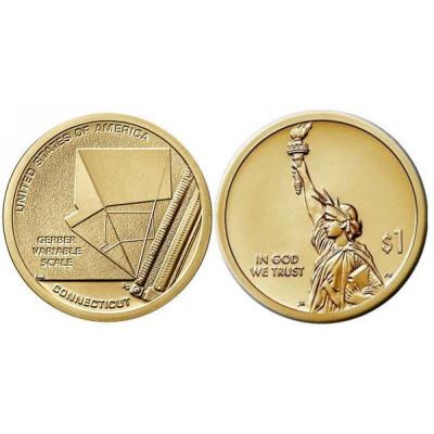 Серебряная монета 1 доллар США 2020 г. Переменная шкала Гербера (D)