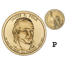 1 доллар США 2009 г., 11-й президент Джеймс Полк (P)