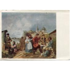 """Открытка """"Народная сцена на ярмарке в старой Ладоге. 1853 г."""" (1-4)"""