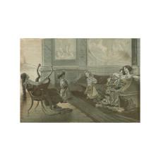 Картина в миниатюре гобелен в деревянной раме (нач. 20 века)